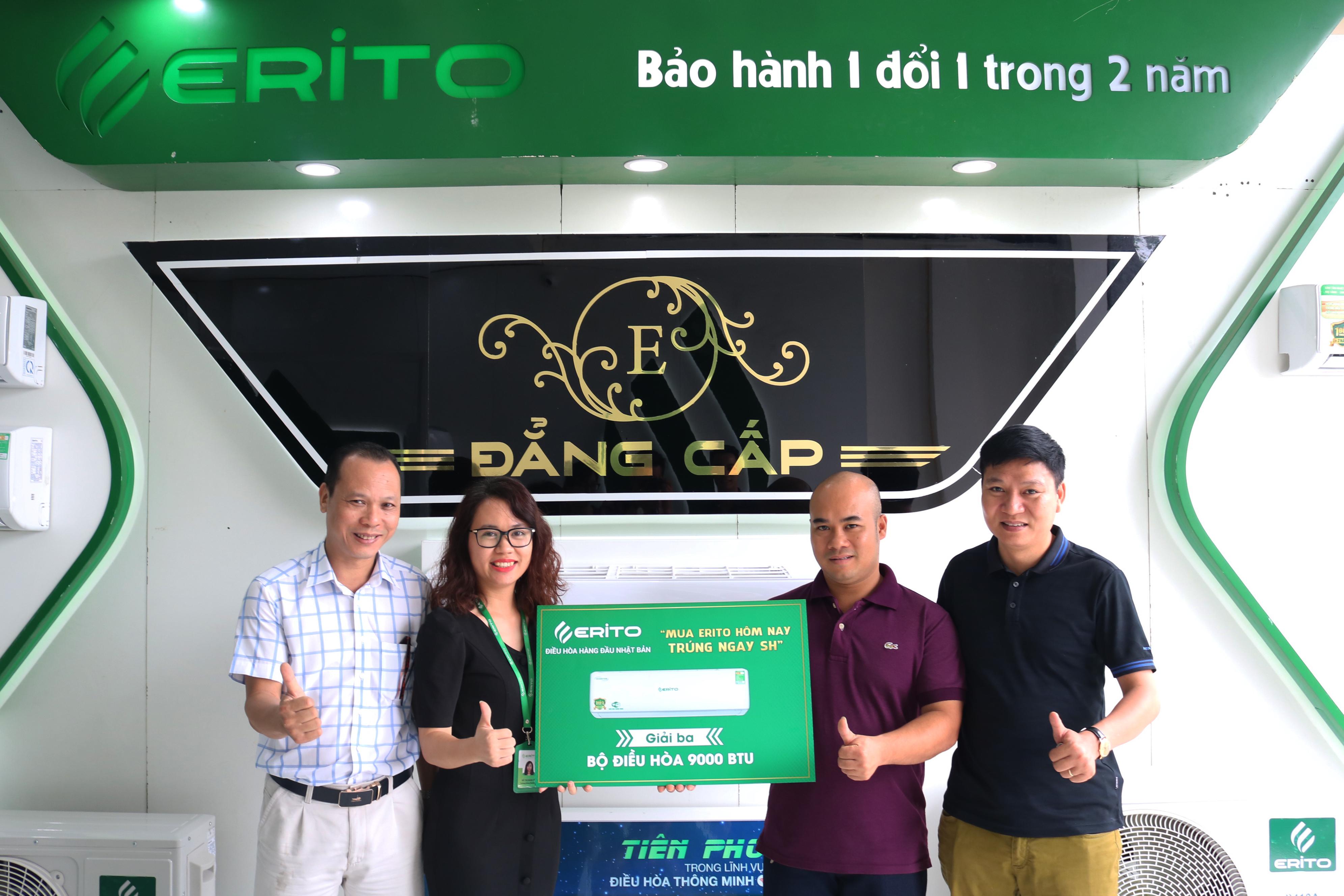 Anh Bùi Trọng Chất – Hà Đông- Hà Nội, là khách hàng may mắn nhận giải 3 điều hòa Erito 9000 BTU