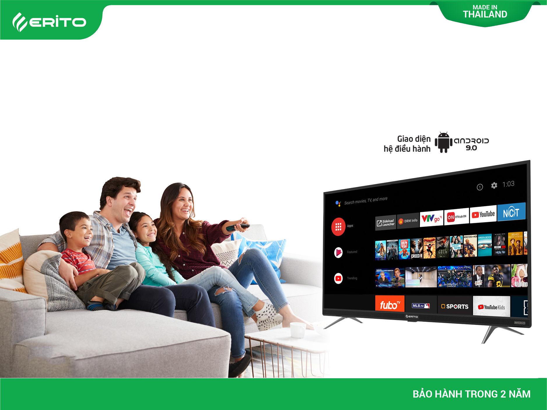 KHO ỨNG DỤNG TRÊN ERITO SMART TV THU HÚT MỌI GIA ĐÌNH VIỆT
